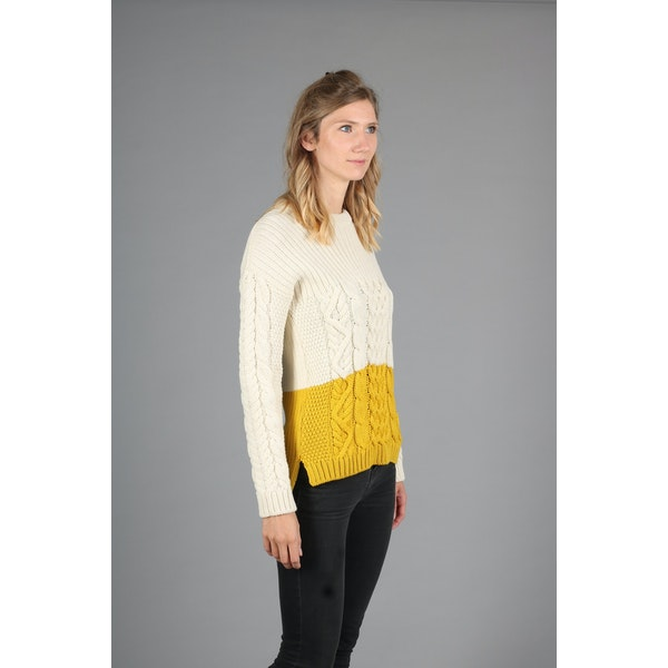Peregrine Made In England Fisherman Colour Block Women's Sweater