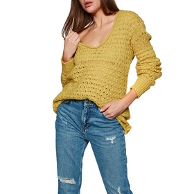Free People Crashing Waves Pullover Women's Knits - Chartreuse