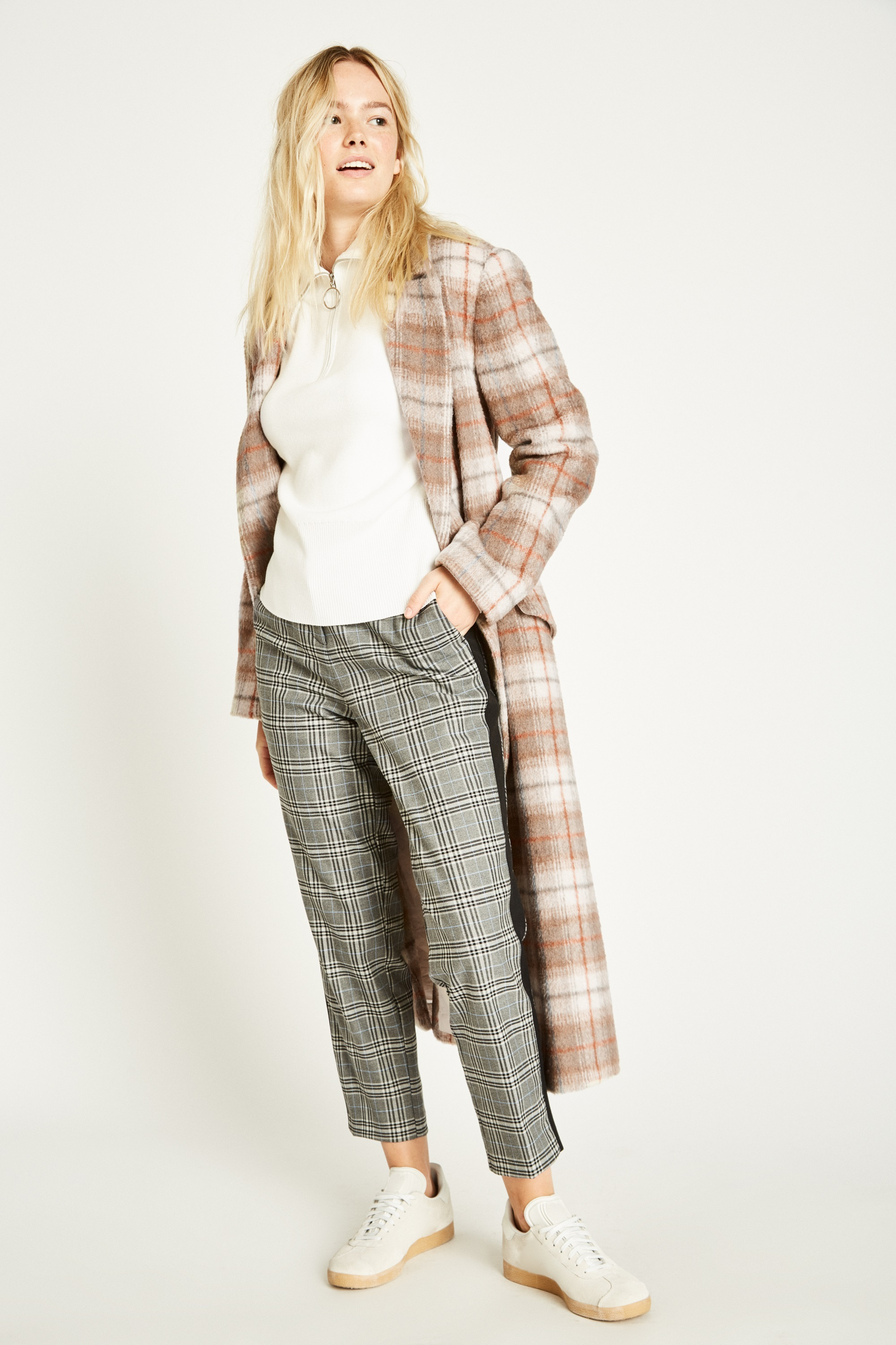 Jack Wills Blythe Long Checked Robe Womens Jacket Sand All Sizes