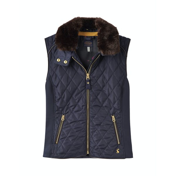 Joules Inverness Faux Fur Collar Quilted Women's Gilet