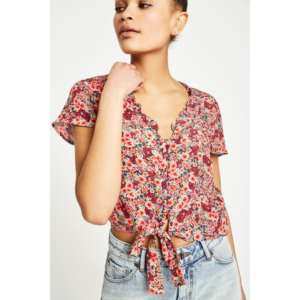 Jack Wills Hope Floral Blouse Women's Short Sleeve Shirt