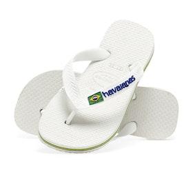 Havaianas Brasil Logo Kids Sandals - White