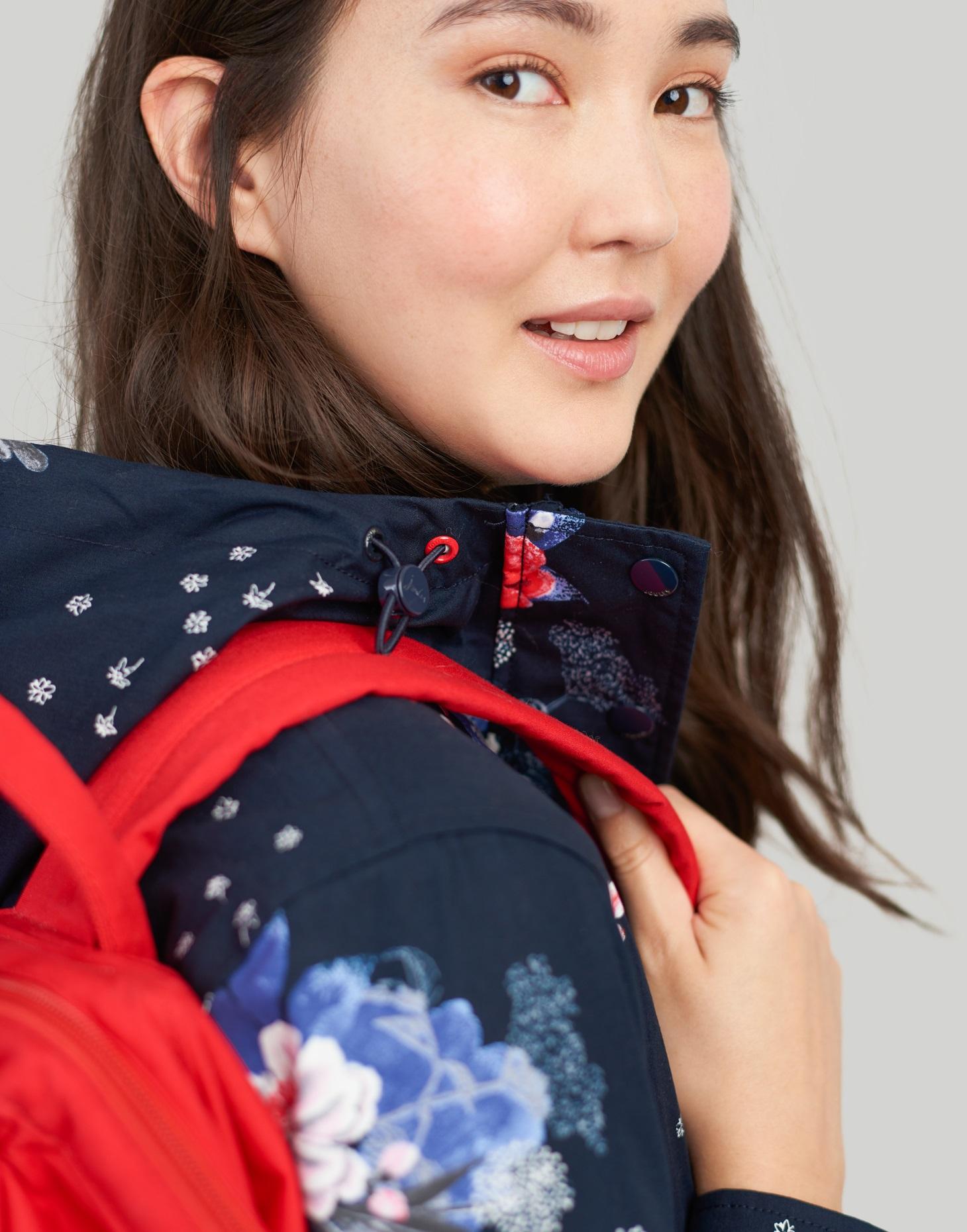 Joules Womens Raine Waterproof Jacket in NAVY FLORAL
