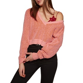 Free People High Low V Women's Sweater - Pink
