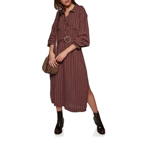 Free People Audery Stripe Midi Dress - Brown Combo