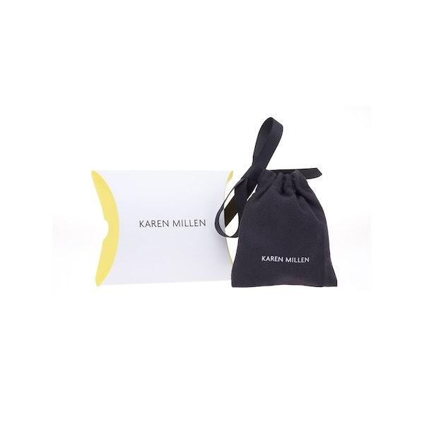 Karen Millen Logo Stud Earrings Silver Crystal Country Attire Switzerland