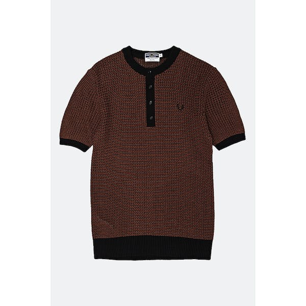 Fred Perry Re Issues Two Colour Knit Button Neck Topp