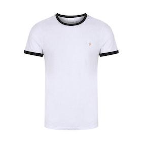 Farah Groves Ringer Slim Fit Men's Short Sleeve T-Shirt - White