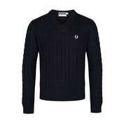 Fred Perry Re Issues Cable Knit V Neck Sweater