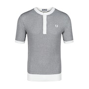 Fred Perry Re Issues Two Colour Knit Button Neck Top