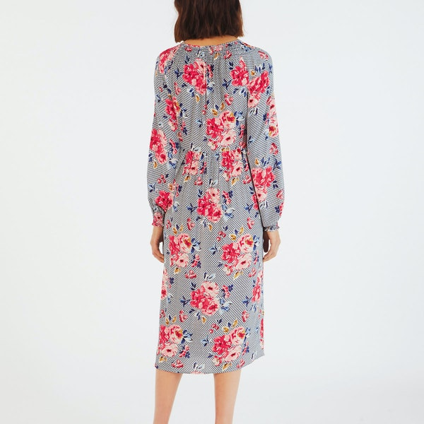 Cath Kidston Crepe Gathered Neck Midi Dress