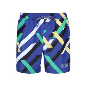 Calvin Klein Medium Drawstring Swim Shorts - Crossing Stripes Print Blue