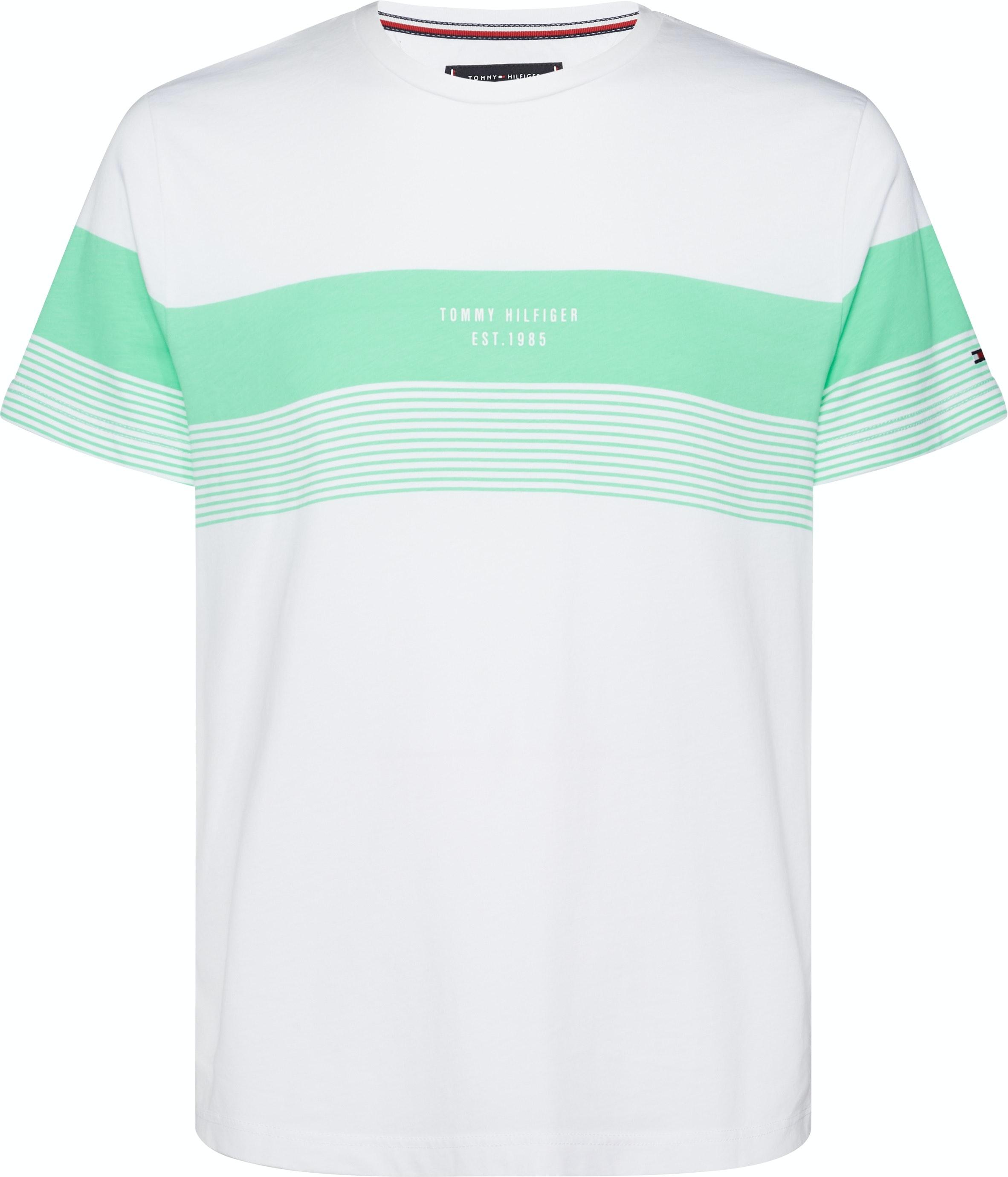Tommy Hilfiger Stripe Mens T-shirt Spring Bud All Sizes