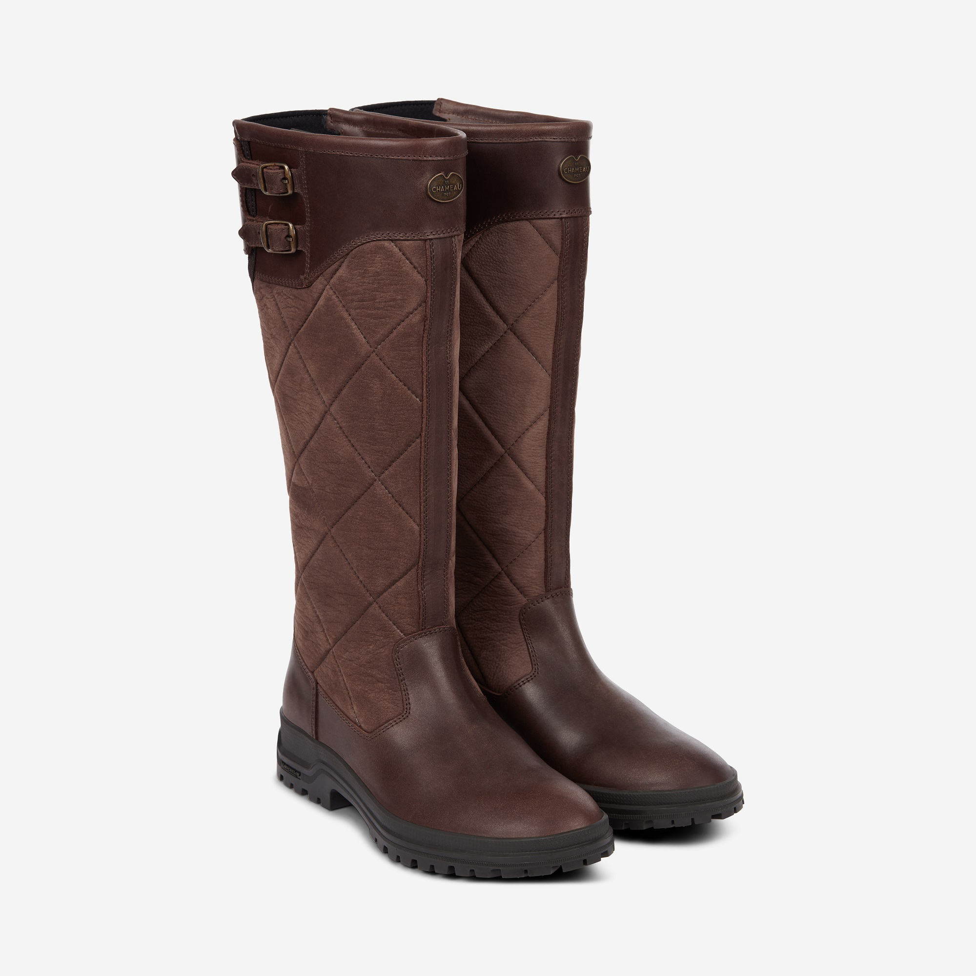 Le Chameau Jameson Quilted Wellington Boots Caramel | Country Attire UK