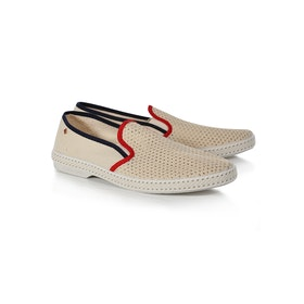 Rivieras Tour Du Monde Slip On Trainers - Beige Navy Red