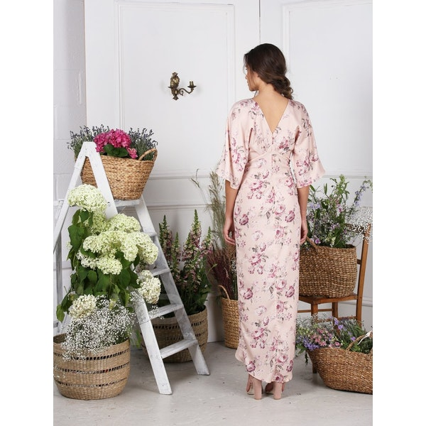 Hope & Ivy Tie Knot Front Maxi With Kimono Sleeves Šaty