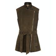 Troy London Belted Suede Fashion Waistcoat