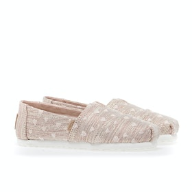 Toms Classic Alpargata Kid's Slip On Trainers - Rose Gold Heartsy Twill Glimmer Embroidery