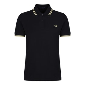 Fred Perry Re Issues 'Made in England' Twin Tipped Polo Shirt - Black Champagne