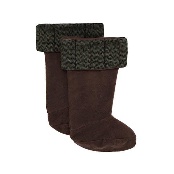Country Attire Welly Warmers Fleece Tweed Top Wellingtons Socks