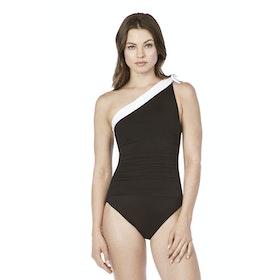 Lauren Ralph Lauren Bel Aire One Shoulder Tie Women's Swimsuit - Black White