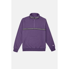 Stussy Woven Tape Mockneck Sweatshirt - Purple