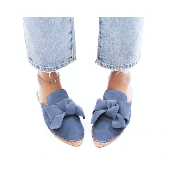 Espadrillas Donna Manebi Goat Suede Mules With Bow