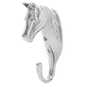 Perry Equestrian Single Horse Head Wall Hook - Silver