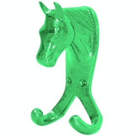 Perry Equestrian Double Horse Head Wall Hook - Green