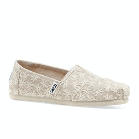Toms Daisy Metallic Kids Slip On Shoes - Natural