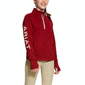 Ariat Tek Team Half Zip Girls Sweater - Laylow Red