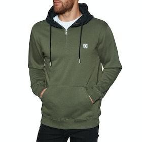 DC Rebel Half Zip Pullover Hoody - Fatigue Green Black