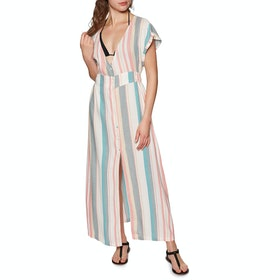 Roxy Furore Lagoon Stripe Dress - Snow White Retro Vertical
