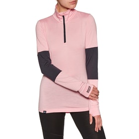Mons Royale Cornice Half Zip Womens Base Layer Top - Rosewater Iron