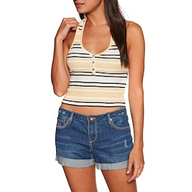 RVCA On The Fence Halter Womens Tank Vest - Off White
