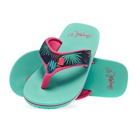 Animal Swish Upper AOP Girls Sandals - Turquoise Green