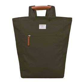 Sandqvist Tony Tote Rucksack - Olive With Cognac Brown Leather
