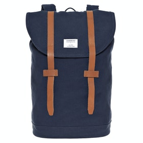 Sandqvist Stig Large Rucksack - Blue With Cognac Brown Leather