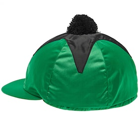 Racesafe Satin Pom Pom Hat Cover - Emerald Black Star