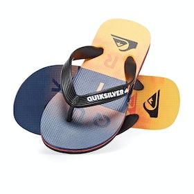 Quiksilver Molokai Wordblock Kids Sandals - Black Orange Blue