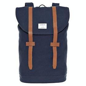 Plecak Sandqvist Stig Large - Blue With Cognac Brown Leather