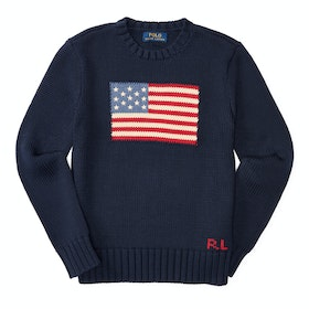 Maglione Polo Ralph Lauren Flag Crew Neck - Hunter Navy