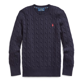 Polo Ralph Lauren Long Sleeved Cable Pullover - Ralph Navy