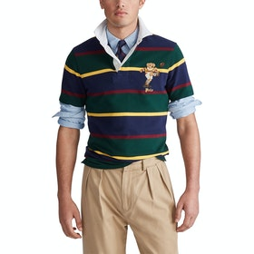 Polo Ralph Lauren Custom Slim Fit Bear Rugby Top - College Green Multi