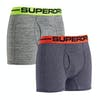 Superdry Sport Double Pack Boxer Shorts - Navy Gravel Grey