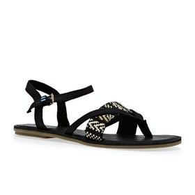 Toms Lexie Woven Canvas Womens Sandals - Black Geometric