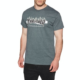 Thrasher Ripped Short Sleeve T-Shirt - Dark Heather