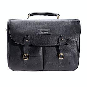 Barbour Leather Briefcase Bag - Black