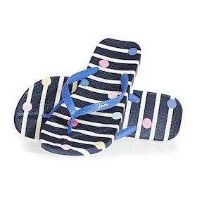 Sandali Donna Joules Flip Flops - Navy Stripe
