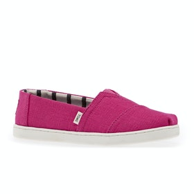 Toms Classic Youth Kids Slip On Shoes - Youth Magenta Heritage Canvas